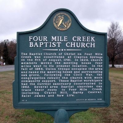 Four Mile Creek Baptist Church Marker image. Click for full size.