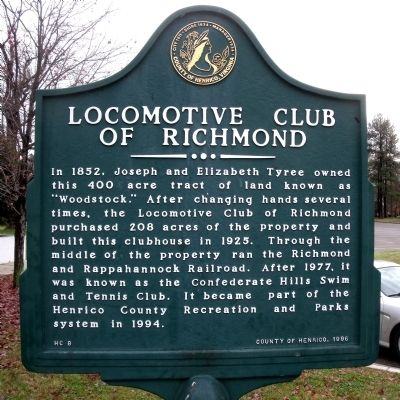 Locomotive Club of Richmond Marker image. Click for full size.