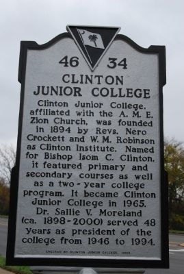 Clinton Junior College Marker image. Click for full size.