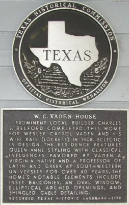 W.C. Vaden House Marker image. Click for full size.