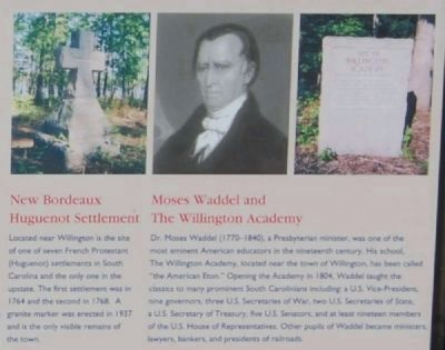 Willington Marker -<br>New Bordeaux Huguenot Settlement<br>Moses Waddel and The Willington Academy image. Click for full size.