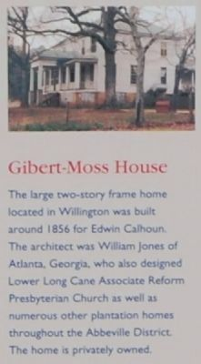 Willington Marker -<br>Gibert-Moss House image. Click for full size.