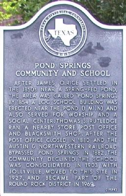 Pond Springs Community and School Marker image. Click for full size.