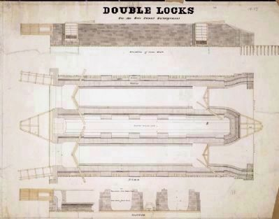 Enlarged Erie Canal Lock 23 Marker - Double Lock Detail image. Click for full size.