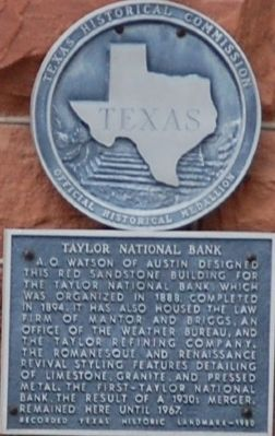 Taylor National Bank Marker image. Click for full size.