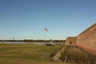 Fort Jackson, west moat and wall area image. Click for full size.