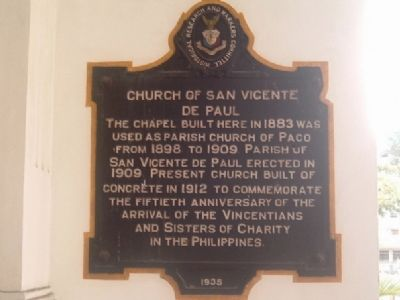 Church of San Vicente de Paul Marker image. Click for full size.