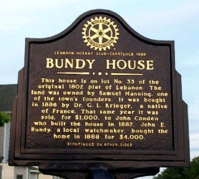 Bundy House Marker (Side A) image. Click for full size.