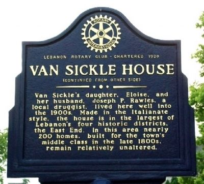 Van Sickle House Marker (Side B) image. Click for full size.