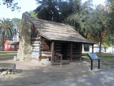 Barnes Log Cabin and Marker image. Click for full size.
