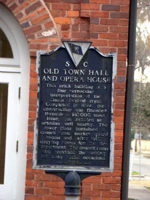 Old Town Hall and Opera House Marker, Side 1 image. Click for full size.