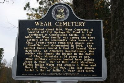 Wear Cemetery Marker image. Click for full size.