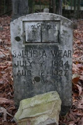 Sallie A. Wear's Gravestone (1834-1927) image. Click for full size.