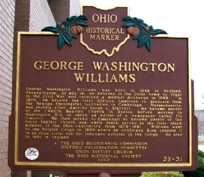 George Washington Williams Marker image. Click for full size.