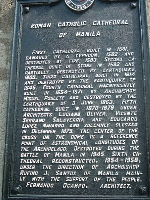 Manila Cathedral Marker image. Click for full size.