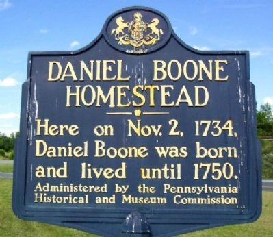 Daniel Boone Homestead Marker image. Click for full size.