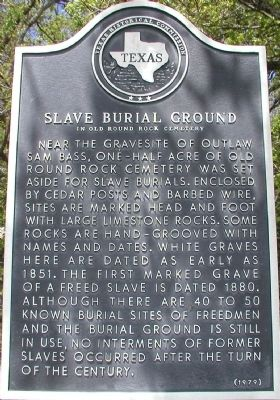 Slave Burial Ground in Old Round Rock Cemetery Marker image. Click for full size.