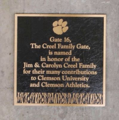 The Creel Family Gate -<br>Memorial Stadium Gate 16 image. Click for full size.
