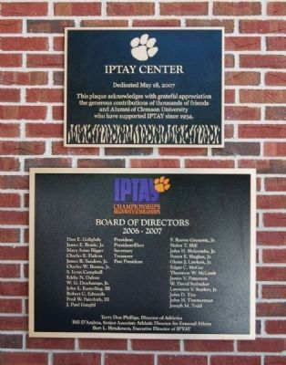 IPTAY Center Dedication Plaque image. Click for full size.