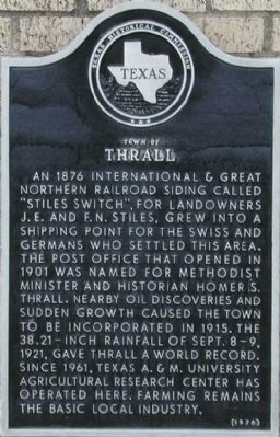Town of Thrall Marker image. Click for full size.