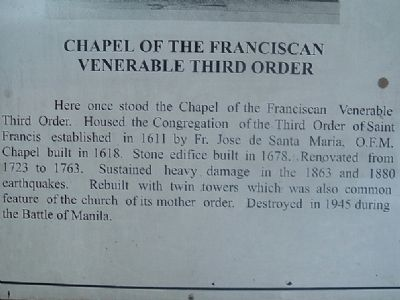 Chapel of the Franciscan Venerable Third Order Marker image. Click for full size.