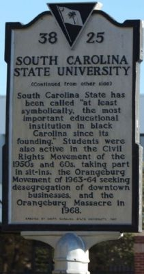 South Carolina State University Marker, reverse side image. Click for full size.