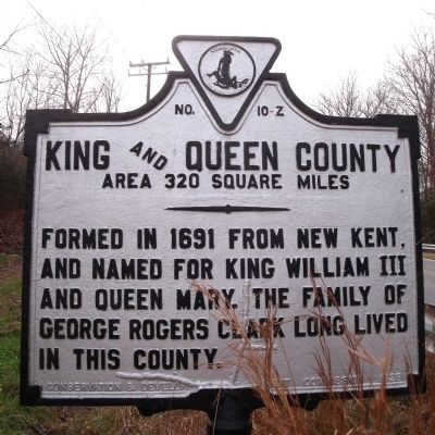 King and Queen County (obverse) image. Click for full size.
