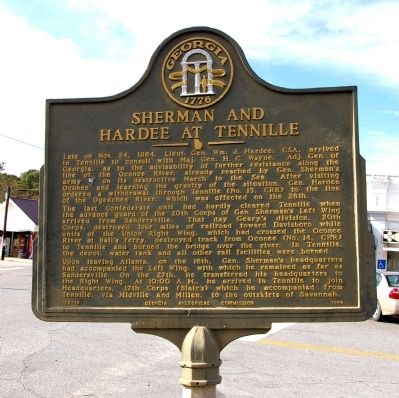 Sherman and Hardee at Tennille Marker image. Click for full size.