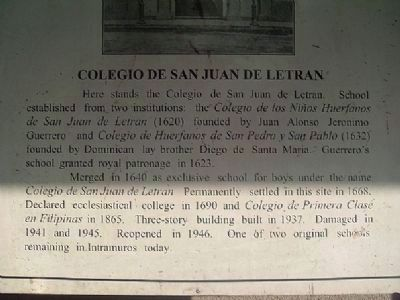 College of San Juan de Letran Marker image. Click for full size.