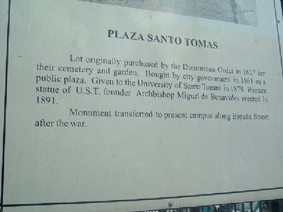 Plaza Santo Tomas Marker image. Click for full size.