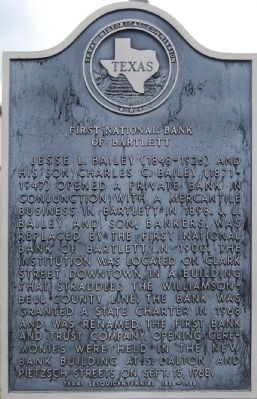First National Bank of Bartlett Marker image. Click for full size.