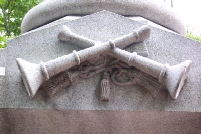 Trumpets on Volunteer Firemen Memorial image. Click for full size.