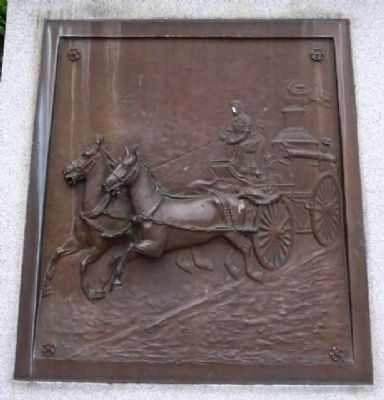 Steam Engine Relief on Volunteer Firemen Memorial image. Click for full size.