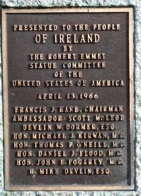 Robert Emmet Statue Presentation Marker image. Click for full size.