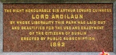 Lord Ardilaun Dedication on Memorial image. Click for full size.