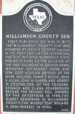 Williamson County Sun Marker image. Click for full size.