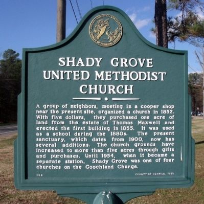 Shady Grove United Methodist Church Marker image. Click for full size.