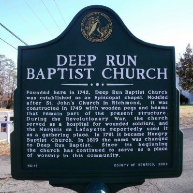 Deep Run Baptist Church Marker image. Click for full size.