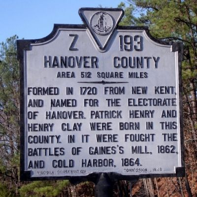 Hanover County Marker (obverse) image. Click for full size.