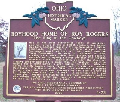 Boyhood Home of Roy Rogers Marker image. Click for full size.