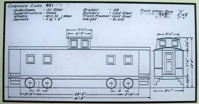 Overall Specifications for Caboose Car No. 951 image. Click for full size.