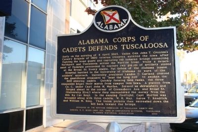 Alabama Corps Of Cadets Defends Tuscaloosa Marker image. Click for full size.