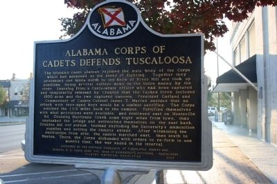 Alabama Corps Of Cadets Defends Tuscaloosa Marker Reverse image. Click for full size.