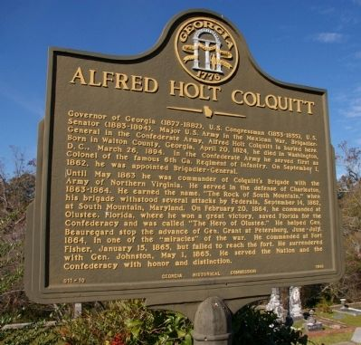 Alfred Holt Colquitt Marker image. Click for full size.