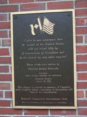Roosevelt Campobello Park Plaque image. Click for full size.