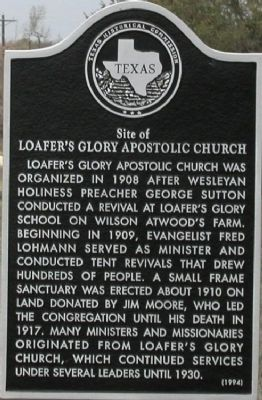 Site of Loafer's Glory Apostolic Church Marker image. Click for full size.