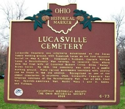 Lucasville Cemetery Marker (Side A) image. Click for full size.