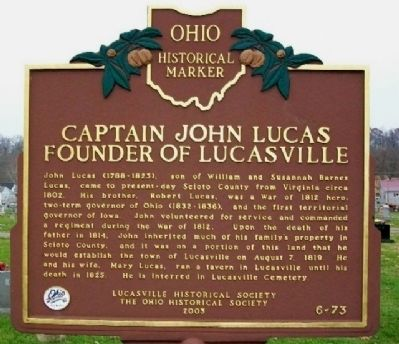 Captain John Lucas Founder of Lucasville Marker (Side B) image. Click for full size.