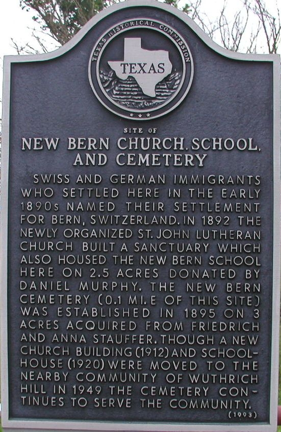 Site of New Bern Church, School, and Cemetery Marker