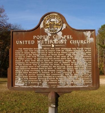 Pope's Chapel United Methodist Church Marker image. Click for full size.